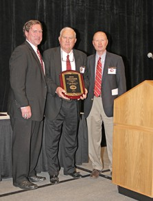 From left to right: former Greenfield School Athletic Director, Robert Stokely, Hall of Fame Inductee, Benny Alexander and NCISAA Attorney, Durwood Laughinghouse